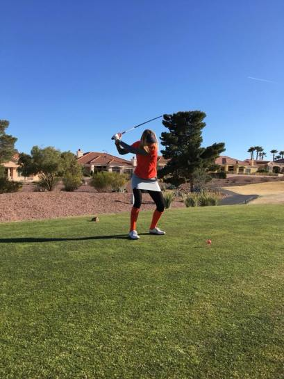 Anya on the tee at Eagle Crest